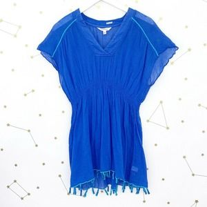 Athleta • Blue Gauzy Tasseled Bright Side Cover Up
